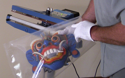 Placing the mask in the bag